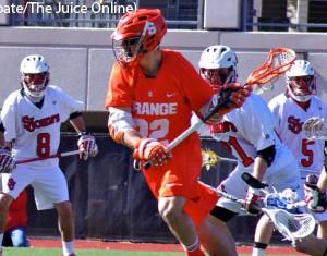 Syracuse attackman Jojo Marasco runs upfield against St. John's