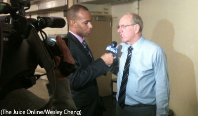 Syracuse coach Jim Boeheim speaks with SNY following a win over St. John's