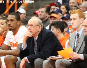 Syracuse coach Jim Boeheim looks on