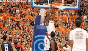 Syracuse forward CJ Fair dunks against UConn