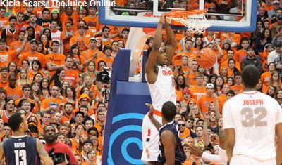 Syracuse forward CJ Fair dunks against UConn