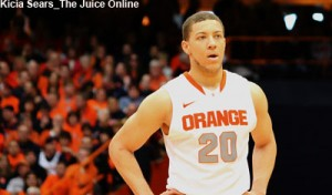 Syracuse G Brandon Triche watches a free throw