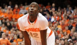 Syracuse C Baye Keita stands in the box waiting for a free throw.