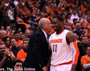 Syracuse guard Scoop Jardine exits for the final time from the Carrier Dome
