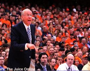 Syracuse coach Jim Boeheim yells at his team during a game against Louisville