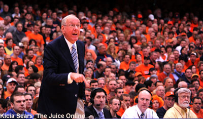Syracuse coach Jim Boeheim yells at his team during a game against Louisville