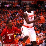 Syracuse guard Dion Waiters catches the ball against Louisville