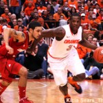 Syracuse guard Dion Waiters drives against Louisville guard Peyton Silva