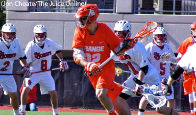 Syracuse attackman Jojo Marasco runs upfield against St. John's