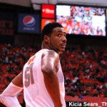 Fab Melo looks at the shot clock