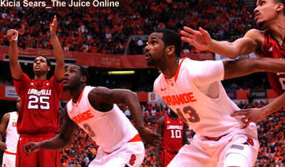 Syracuse players James Southerland and Dion Waiters box out on free throws