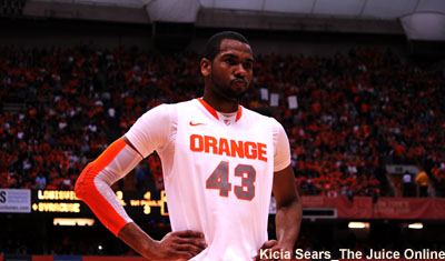 Syracuse forward James Southerland waits for a free throw