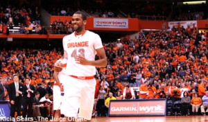 Syracuse forward James Southerland laughs in a game against Louisville