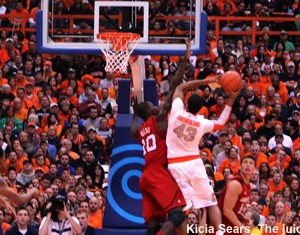 James Southerland shoots in traffic against Louisville