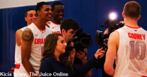 Some of the guys having fun with Trevor Cooney while he is interviewed