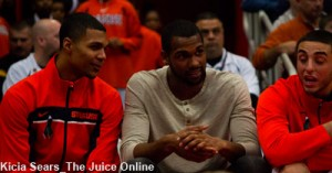 James Southerland watches the second half of the Villanova game from the bench