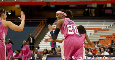 Sykes and B.Butler celebrate Butler's 3, the first of the game