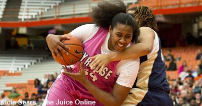 Sakeya Leary (C) fights Pitt defense