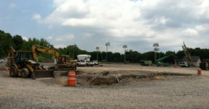 Construction of the new indoor football practice facility is underway at the sprawling Lampe Athletics Complex.  The building rising on the site is slated to open in Dec.