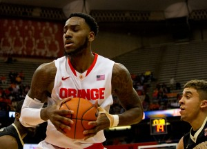 Rakeem Christmas sizes up his next move against Wake Forest on January 13th. Christmas scored a career-high 35 points in this contest.
